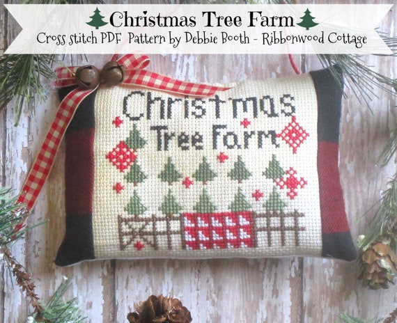 Cross Stitch Pattern Christmas Tree Farm Pillow Tuck Ornament - Cross Stitch PDF Digital  Pattern
