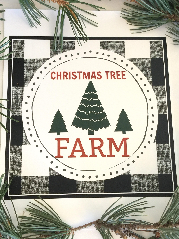 Christmas Tree Farm Black And White Buffalo Plaid Printable ...