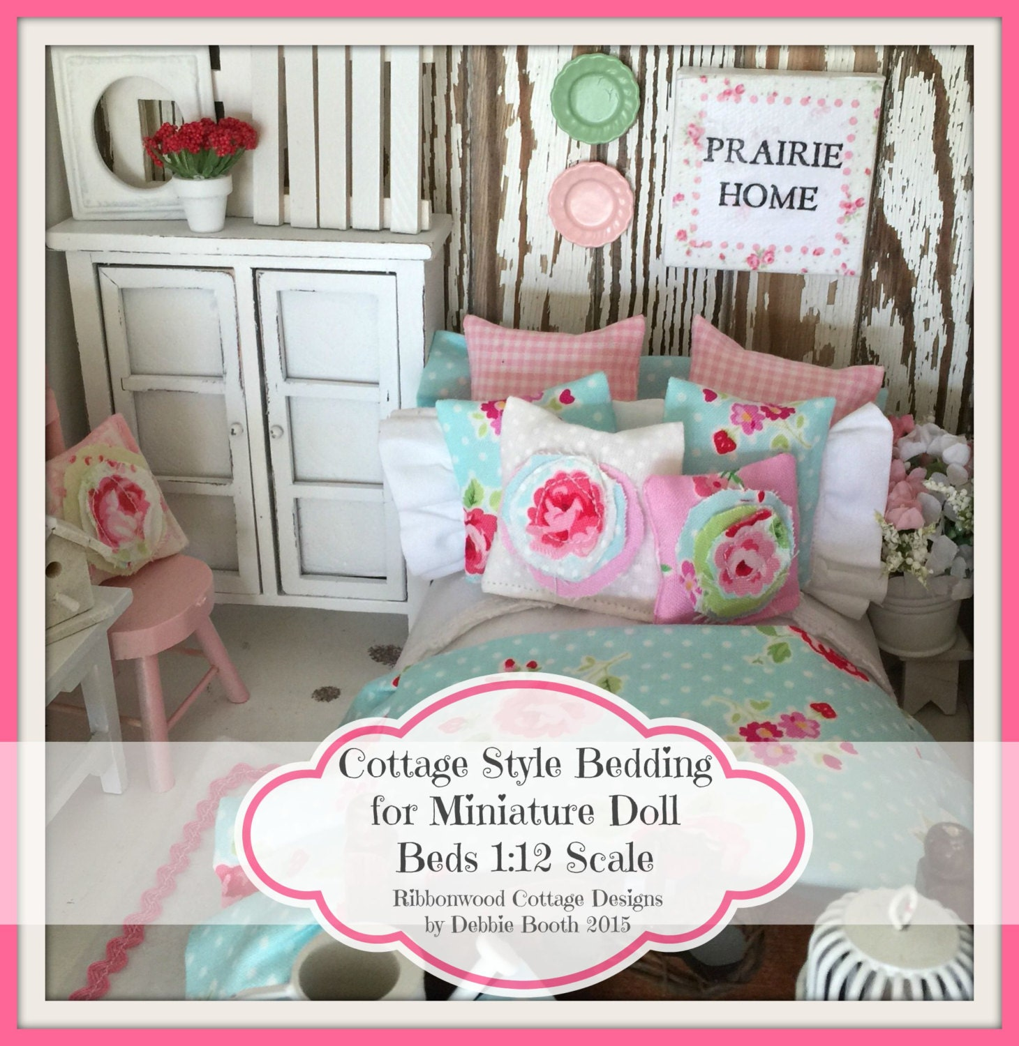 Sewing pattern miniature cottage style bedding for miniature doll sewing pattern miniature cottage style bedding for miniature doll beds 112 scale pattern ebook 42 color pages fandeluxe Gallery