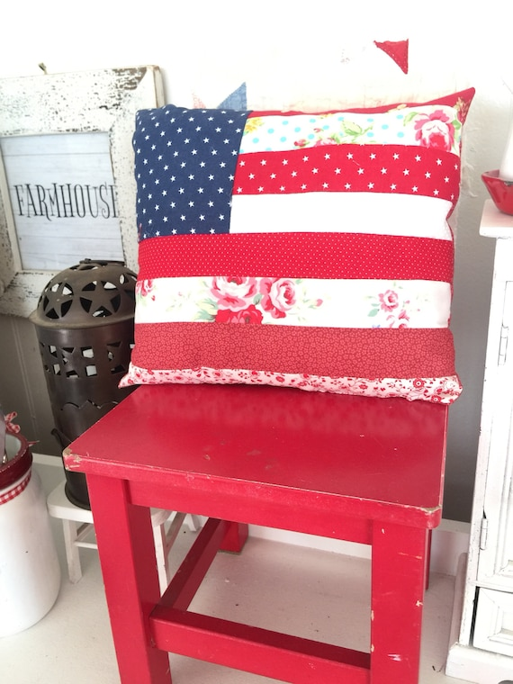 "Country Style Flag Pillow- Regular Size 10"" x 11 1/2"""