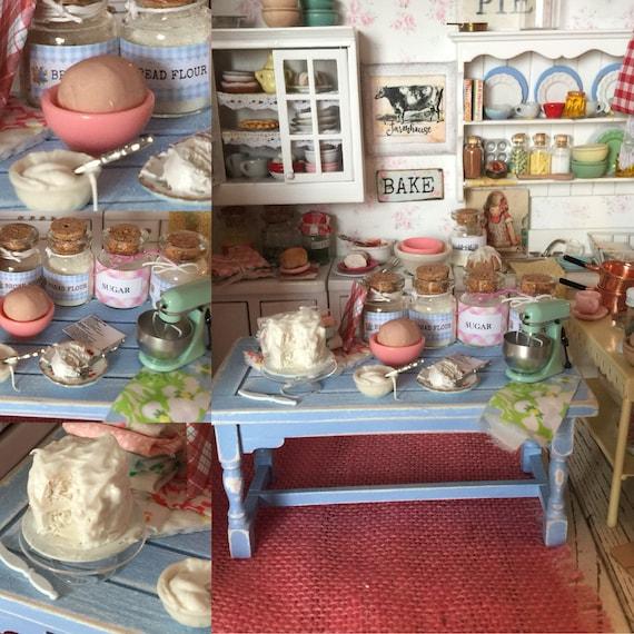 Miniature Spring Cake Baking Distressed Blue Prep Table