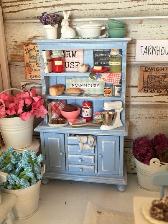 Miniature Vintage Farmhouse Blue Distressed Kitchen Cupboard- 1/12 scale dollhouse