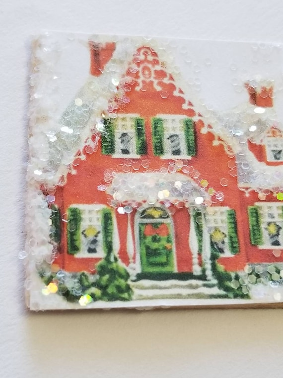 Miniature Christmas House Canvas Art  with Snow Glitter