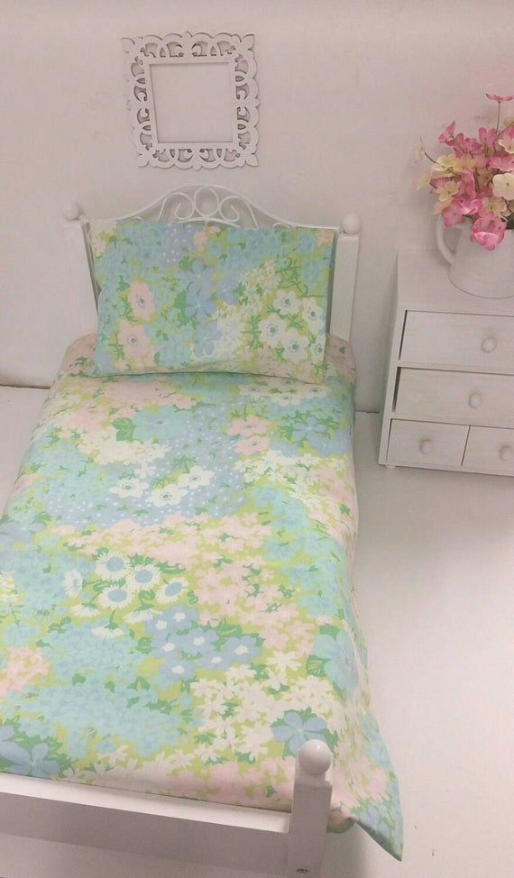 18 inch  Girl Doll Sized, Vintage Light Blue and Green Floral, Doll Sheet Set, for 18in. Doll