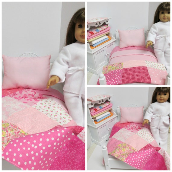 18 inch Girl  Doll Pink Patchwork Quilted throw-