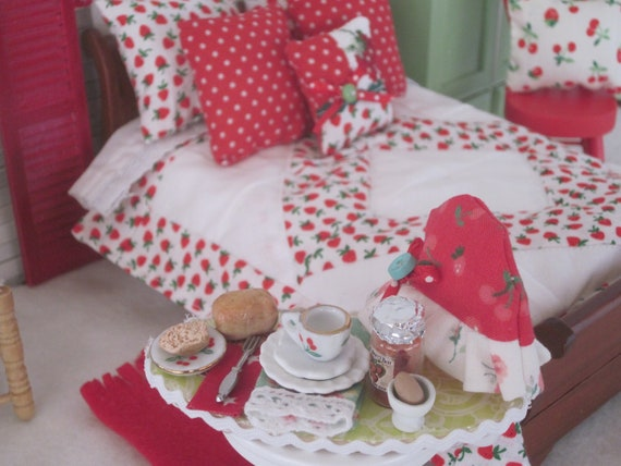 Miniature Breakfast Tray with Tea Cozy - Strawberry Collection