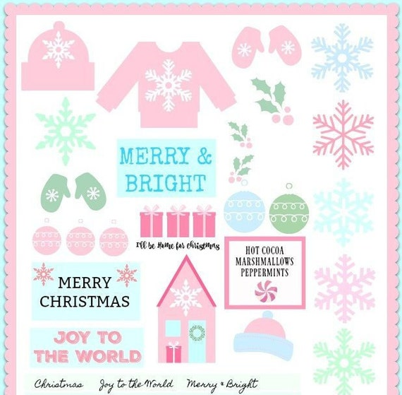 Christmas Clipart Pastel Winter Sweater, Beanie and Mittens Printable Download