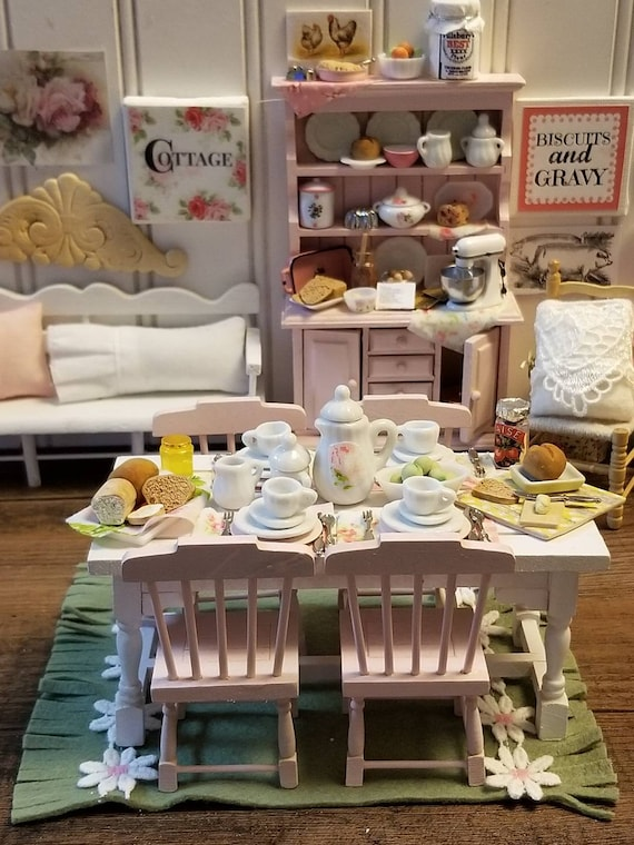 Shabby Style Miniature Dollhouse Handpainted Table, Chairs, full Tablescape and Rug 1:12 scale