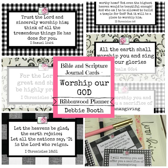 Bible and Scripture Journaling Cards Worship Our God Collection Digital Download