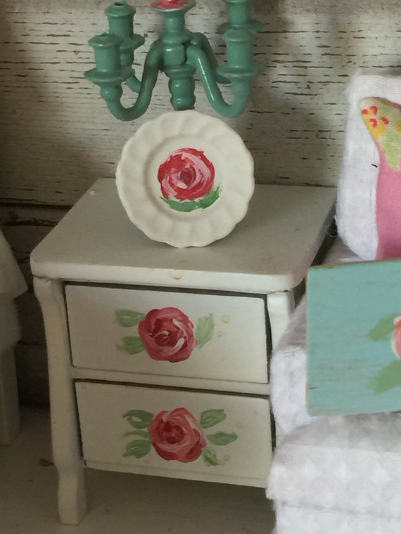 Miniature Dollhouse Plate- Handpainted Rose