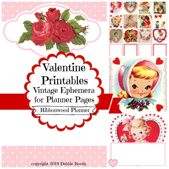 Valentine Vintage Style and New Ephemera Printable Digital Junk Journal