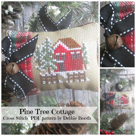 Cross Stitch Pattern Pine Tree Cottage PDF Cross Stitch Pattern