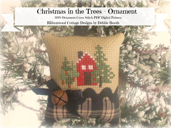 Cross Stitch Pattern Christmas in the Trees Ornament - Cross Stitch PDF Download Chart