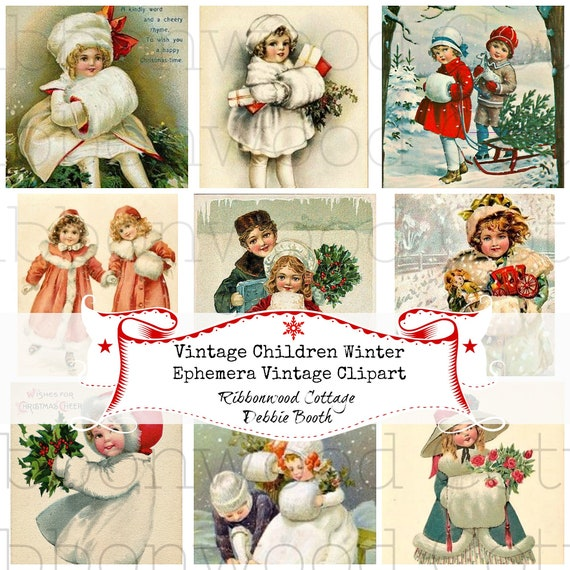 Instant Download - Vintage Children Winter Fur Ephemera