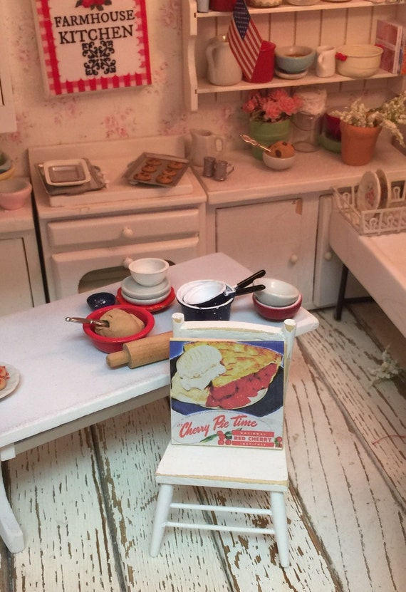 Cherry Pie Vintage Sign Dollhouse Miniature -1:12 Scale