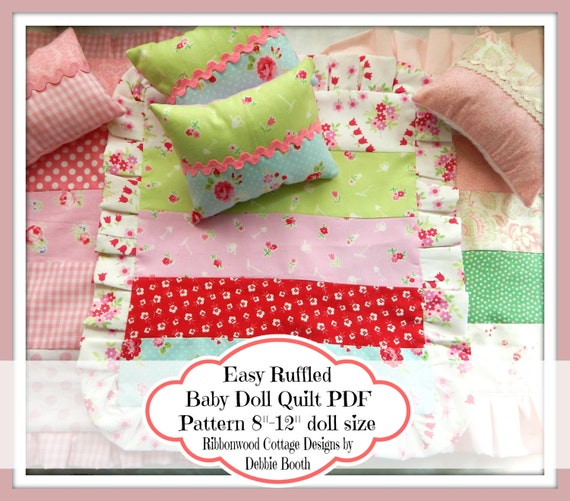 "Sewing Pattern PDF Easy Ruffled Baby Doll Quilt Pattern  8""-12"" Doll size"