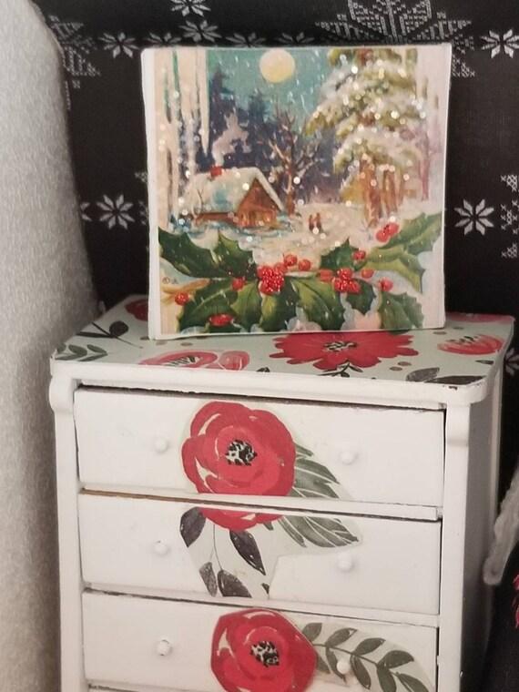 """Vintage Snowy Christmas House Canvas Art 2""""x2"""""""