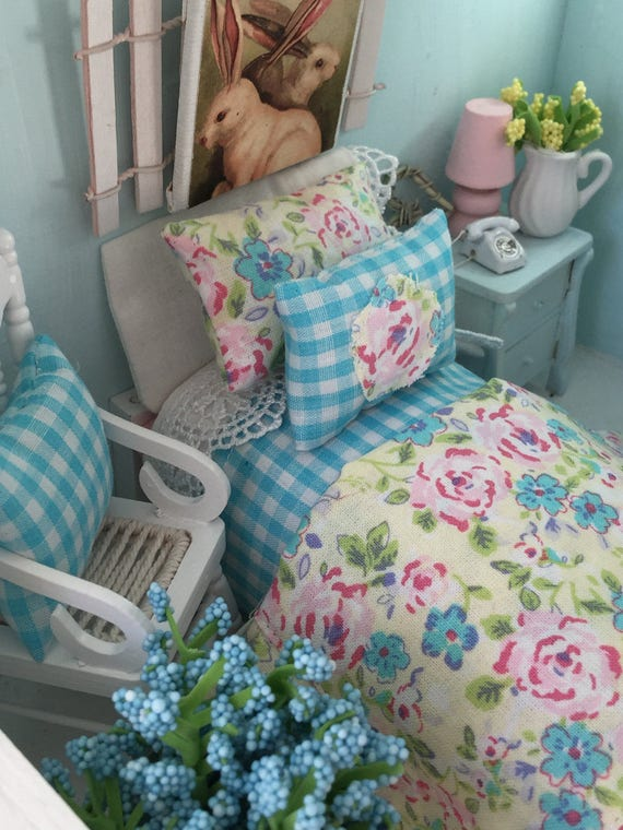 Miniature Dollhouse Spring Shabby Style Floral Bedding and Twin Bed-1:12 Scale