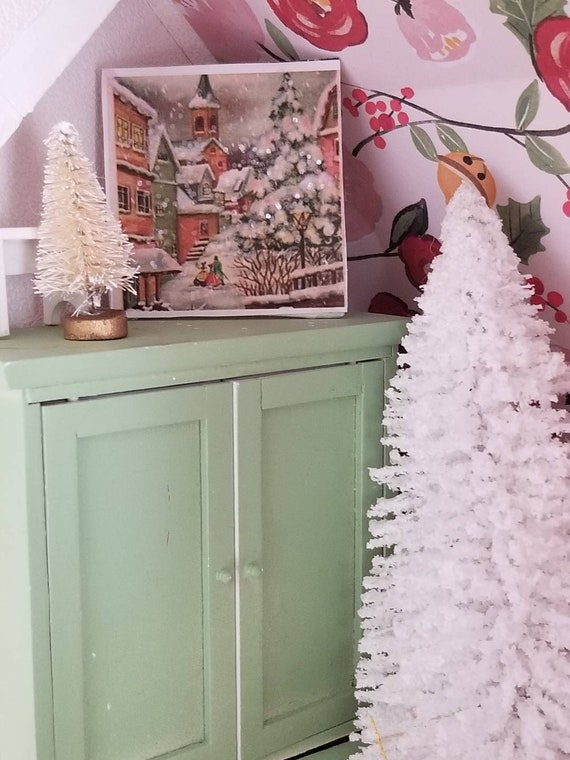 "Snowy Christmas Village Miniature Canvas Art 2"" x 2"""