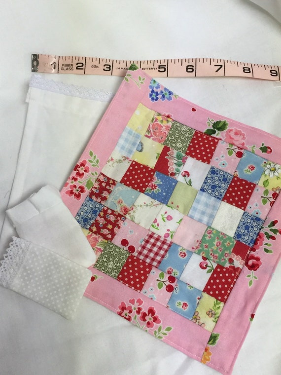 Miniature Pink Patchwork Quilt, Lace Sheet, Pillowcase, Ruffled Sham-1/12 Scale