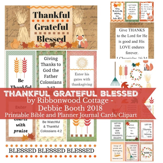 BIBLE JOURNALING Thankful Grateful Blessed Clipart Planner Journal Cards Collection - Download PDF