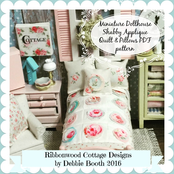 Sewing Pattern PDF Miniature Shabby Chic Applique Quilt, Shams and Accent Pillow Pattern-1:12 dollhouse scale