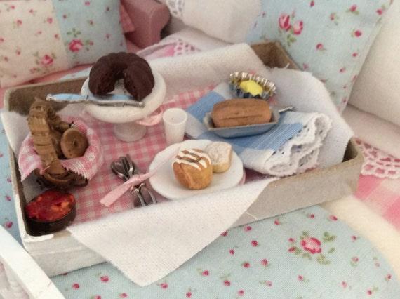Shabby Style Ministure Dollhouse Breakfast Tray - 1:12 Scale