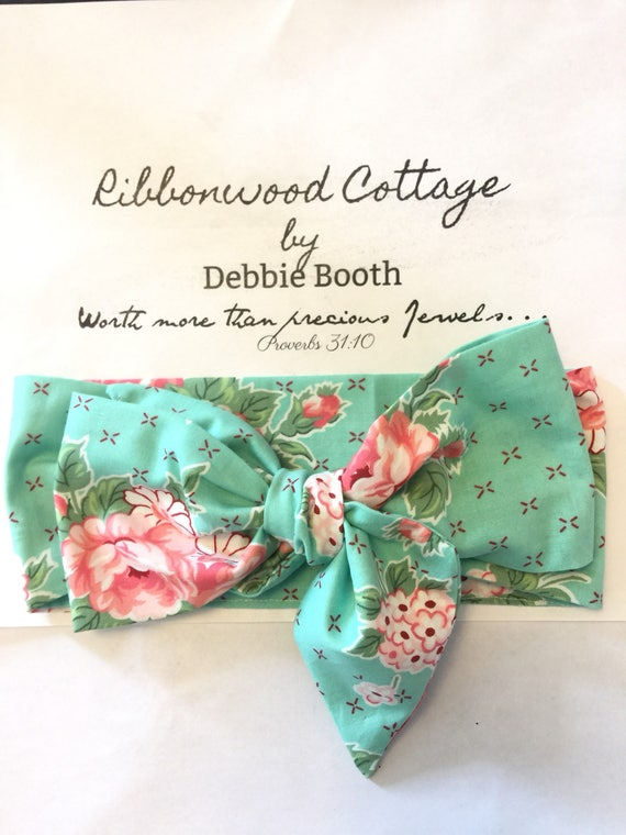 Baby Head Wrap - Awua and Pink Roses Floral