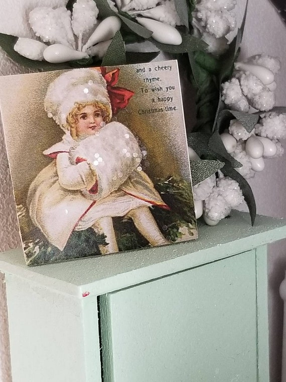 "Vintage Style Christmas Girl in White Fur Canvas Art 2""x2"""