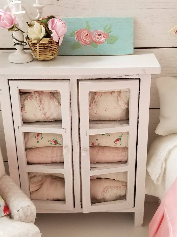 Miniature Shabby Style Pastel Quilt Hutch Dollhouse Scale