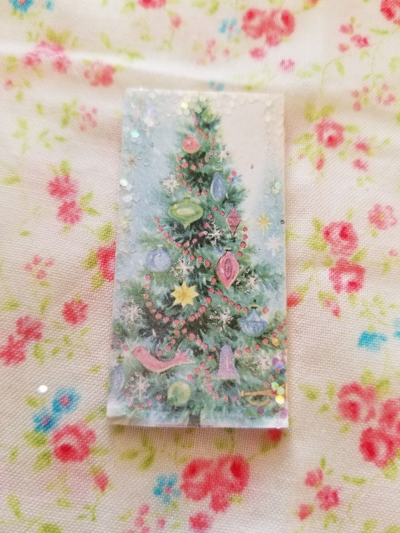 """Vintage Look Christmas Tree Art Miniature Sign 1"""" x 2"""""""