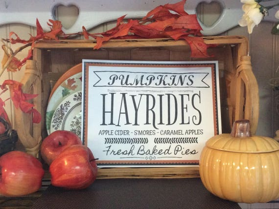 Pumpkins Hayrides Apple Cider S'mores Fresh Baked Pies Printable Wall Art Fall