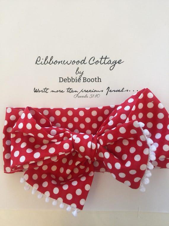 Baby Headband Head Wrap Red with white Polka Dots