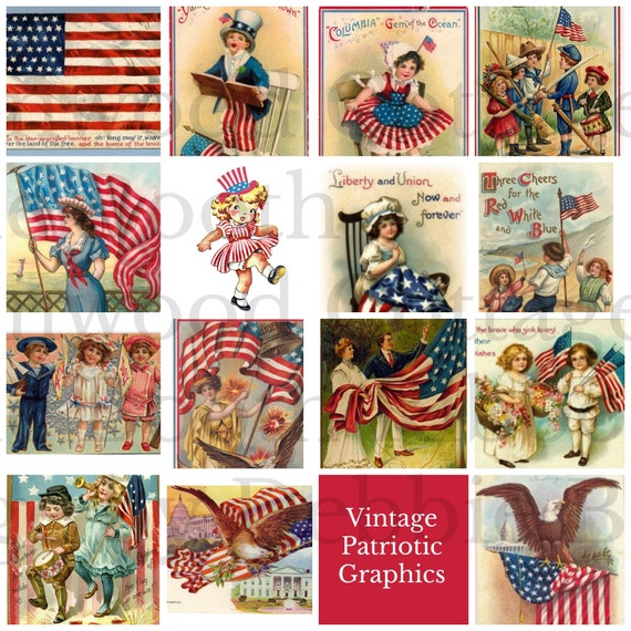 Vintage Americana Patriotic Flag Squares - Digital Download for little signs or planner clipart