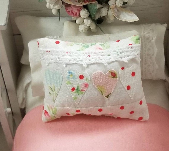 Miniature Lace Edge Hearts Pillow