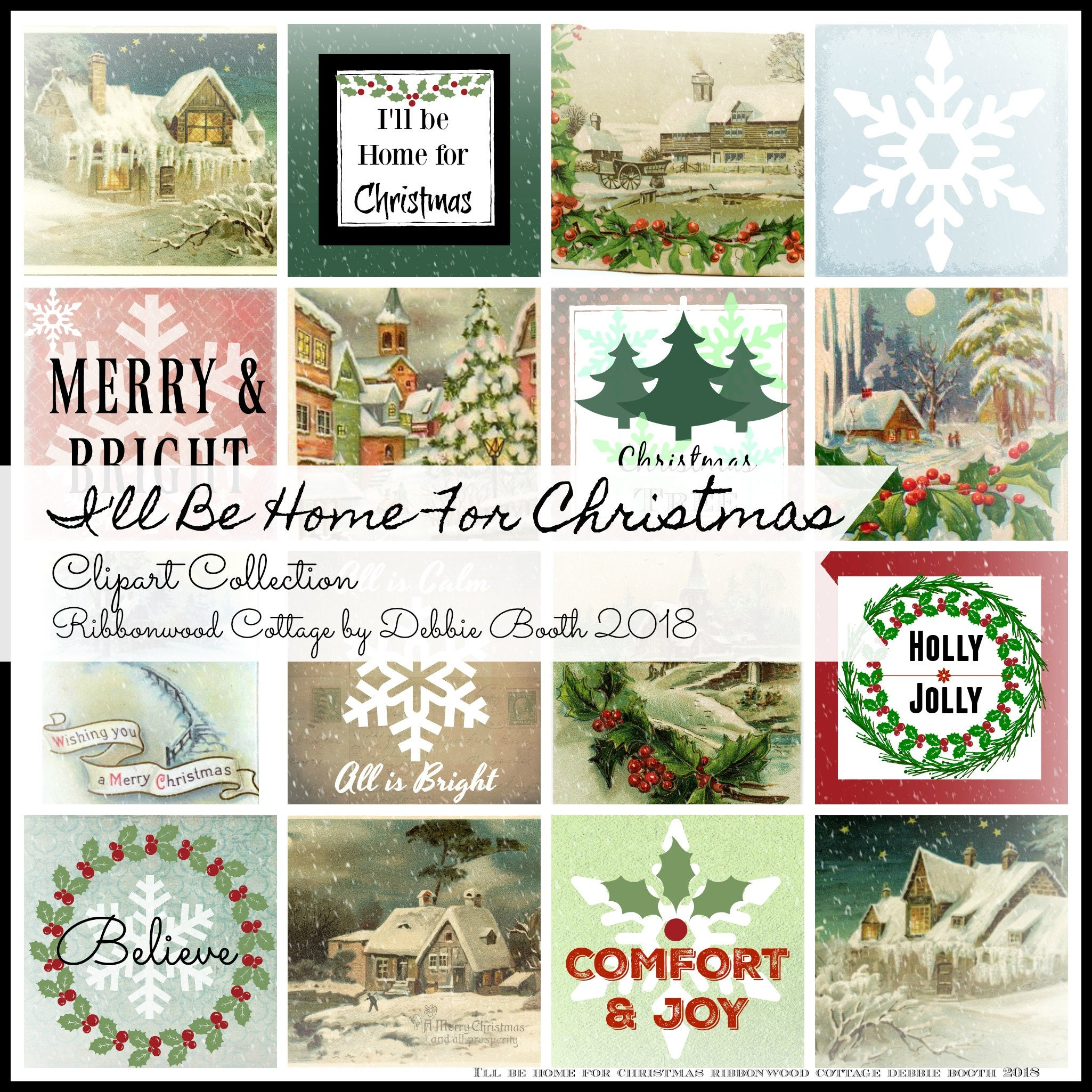 I\'ll Be Home For Christmas Clipart Collection - Immediate Download