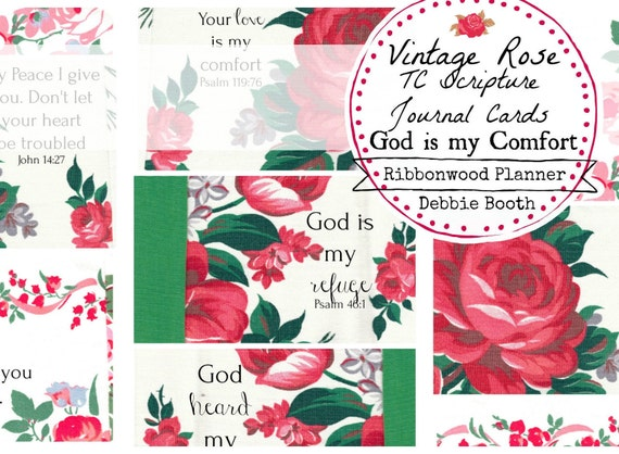 BIBLE JOURNALING Vintage Rose TC Scripture Journal Cards - God is With Me