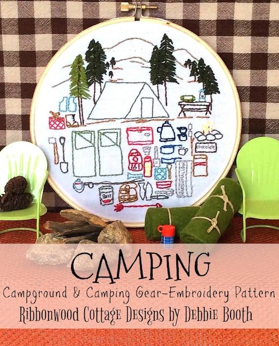 Camping Embroidery Pattern Hoop Art-Campground and Camping Gear