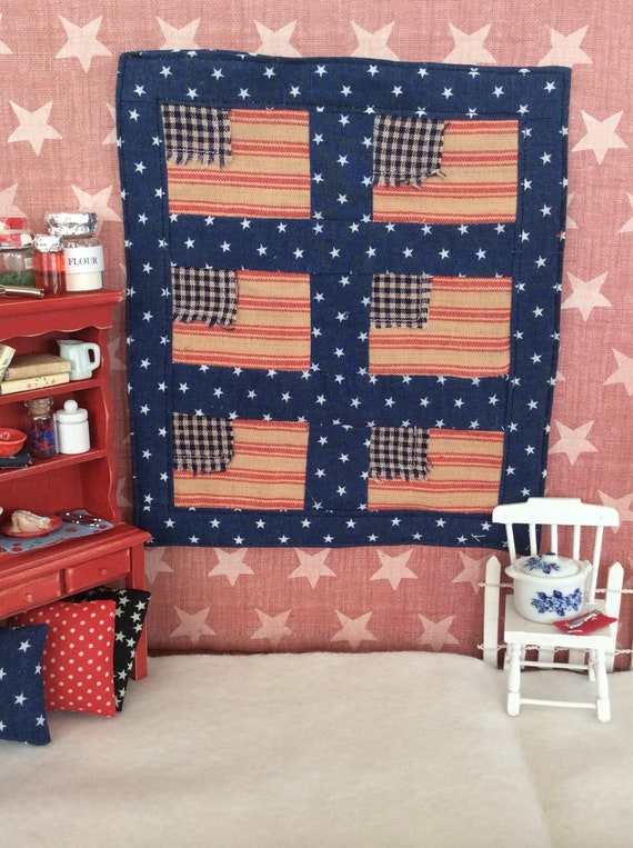 "Miniature Americana Red and Blue Flag Quilt 6 3/4"" x 7 3/4"""