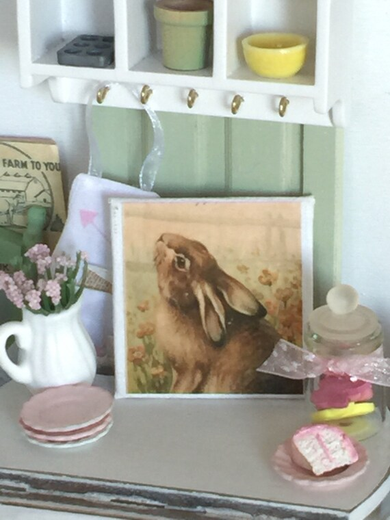 """2""""x2"""" Spring Garden Bunny Easter art-"""