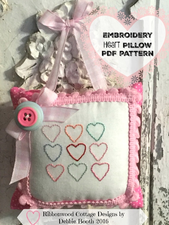 PDF Embroidery Heart Pillow  Pattern