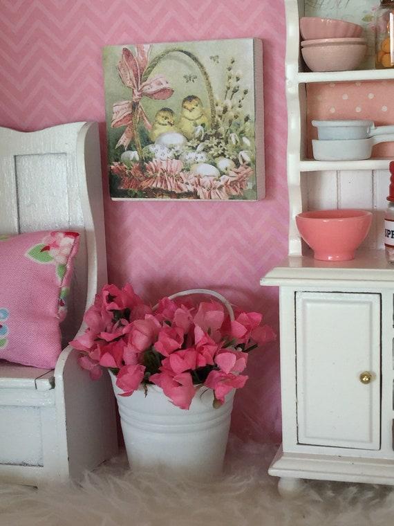 "Vintage Easter Art Easter Eggs, Chicks and Basket-2""x2"" Canvas"