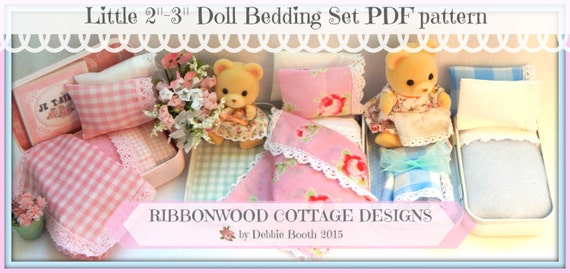 "Sewing Pattern Ribbonwood Cottage Miniature  Doll Bed and Bedding  2""-3"" Doll size (Calico Critters style doll) instant Download"