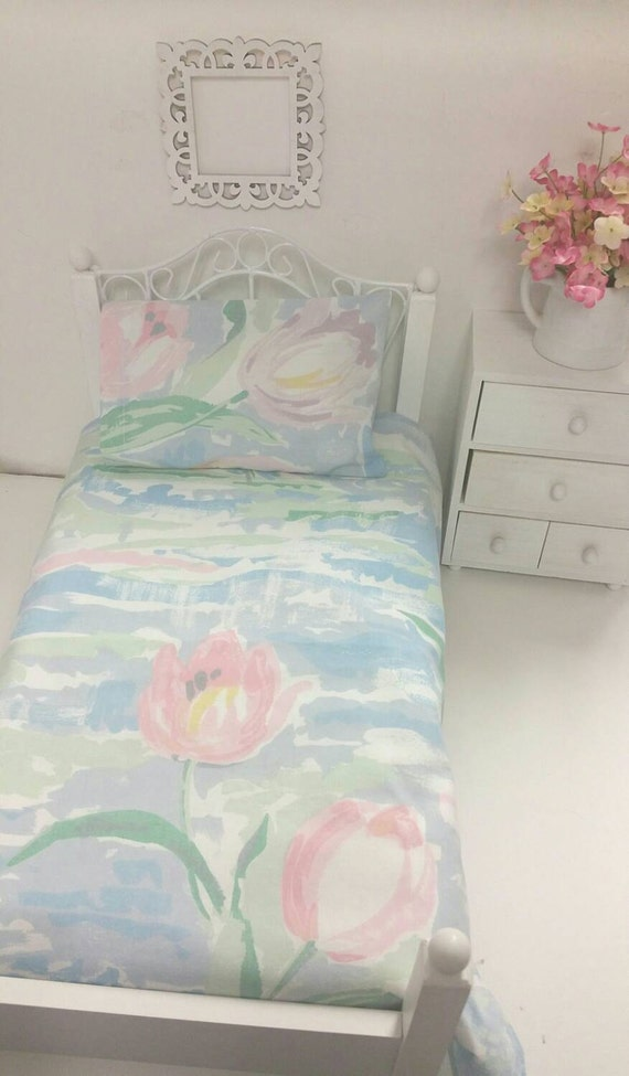 18 inch Girl Doll Sized, Vintage Light Blue Floral Sheet Set, 18in. Doll