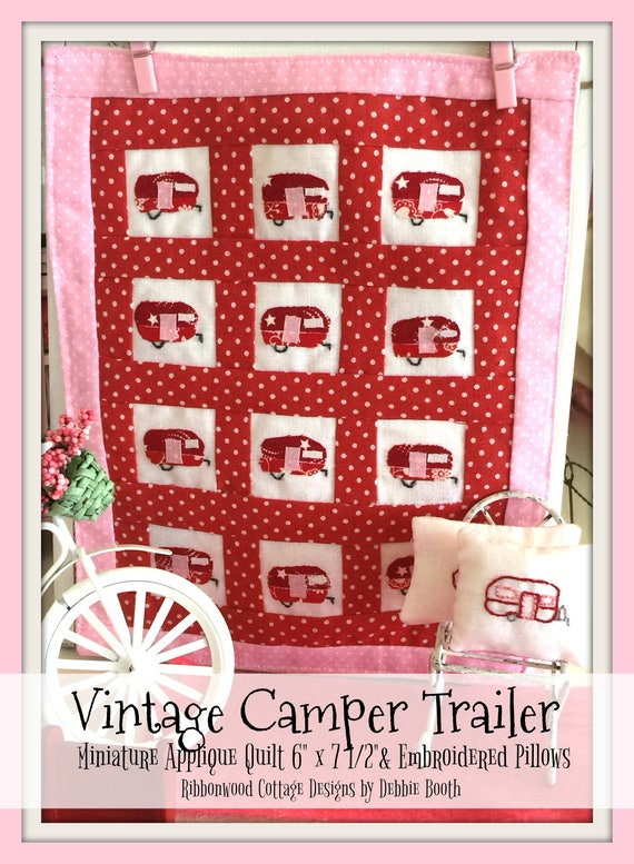 Sewing Pattern Miniature Vintage Camper Trailer Quilt Block and Pillow PDF