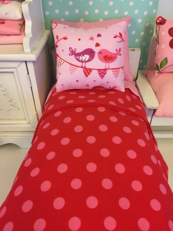 "11"" Fashion Doll Pink and Red Bedding and Comfort Mattress Set"