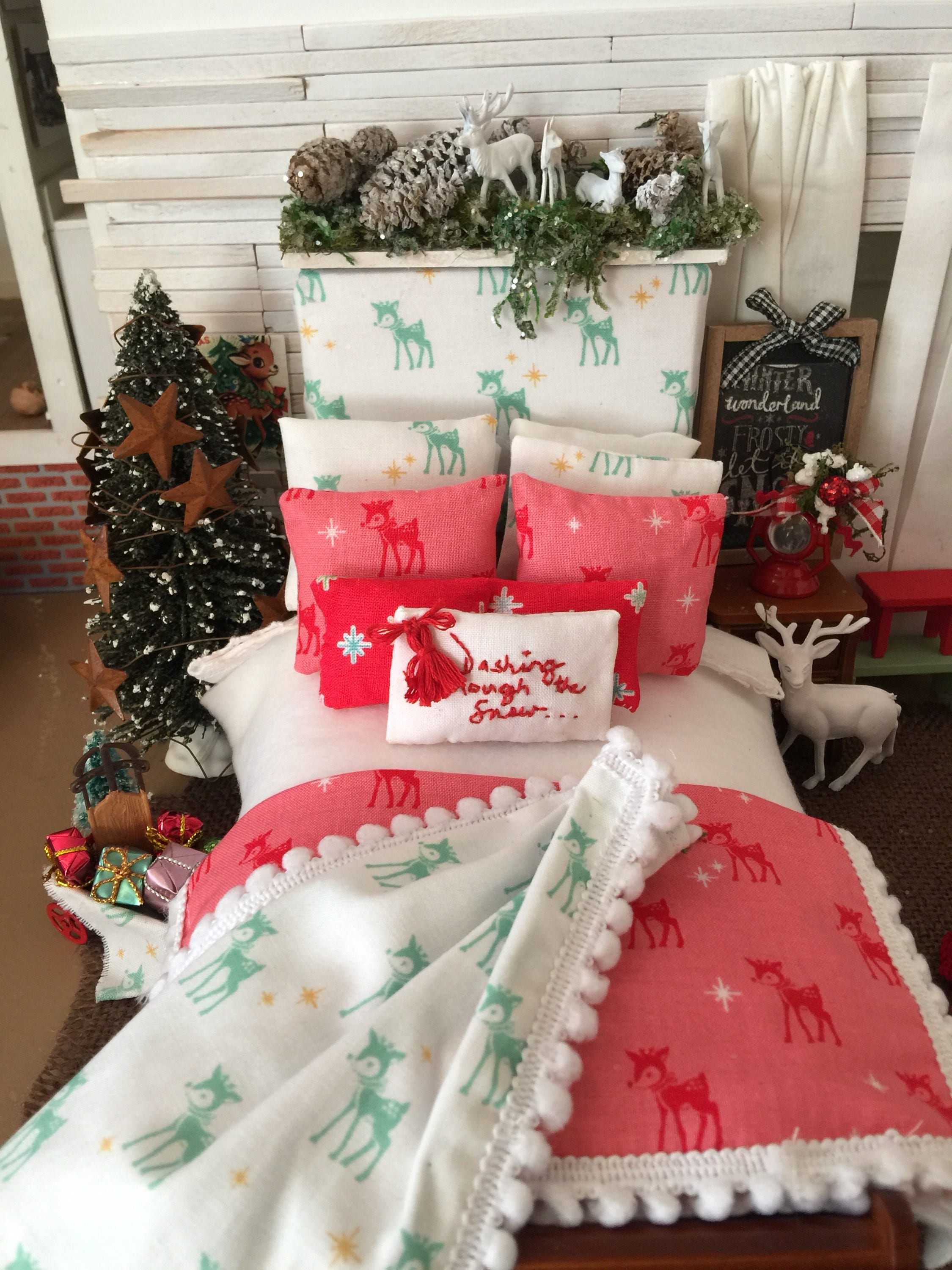 miniature dollhouse christmas reindeer bedding headboard and wooden sleigh bed 112 scale one of a kind - Dollhouse Christmas Decorations