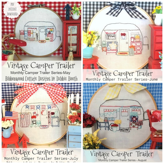 May, June, July and August Vintage Camper Trailer Embroidery Pattern - 20% discount bundle