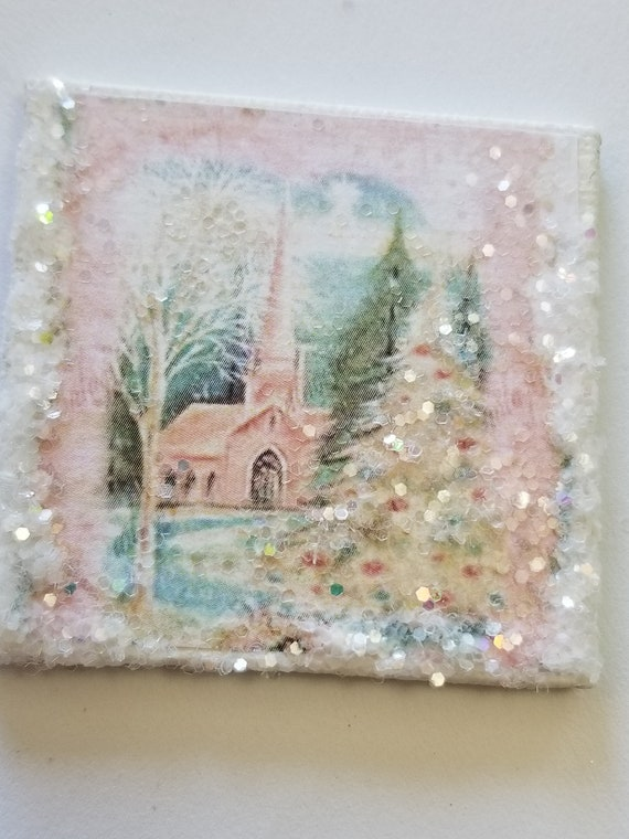 "Pastel Christmas Vintage Snow  Church Canvas Art 2""x2"""