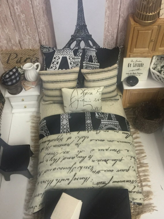 Miniature Eiffel Tower and French bedding only Miniature Dollhouse 1:12 scale (bed not included)